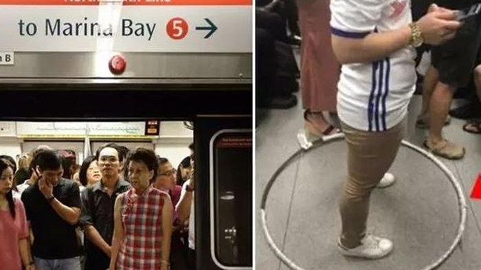 VIRAL Ogah Berdesakan dengan Orang Lain, Wanita Penumpang MRT ini Bawa Hula Hoop Sebagai Pembatas