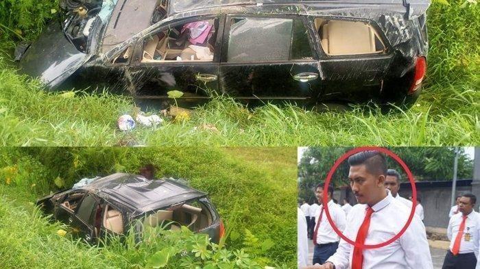 Brigadir Polisi Luka-luka dan Tewas, Mobil Inovanya Melesat Hantam Lori dan Terbalik Berkali-kali