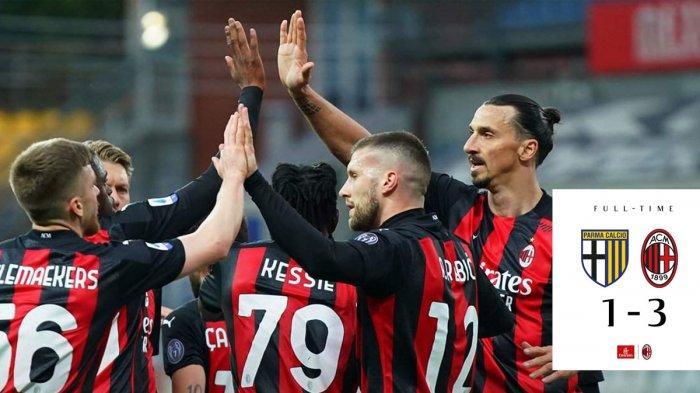 Hasil Parma vs Milan, Ibrahimovic Kartu Merah, Ante Rebic, Kessie, Leao Cetak Gol, AC Milan Menang
