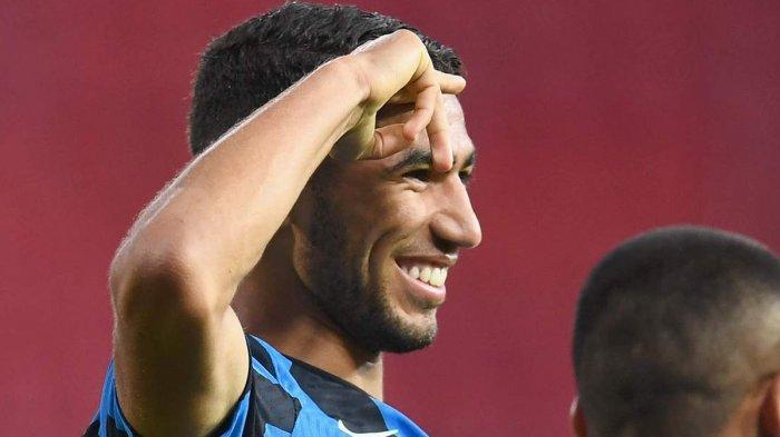 PEMAIN BARU INTER -  Pemain baru Inter Milan Achraf Hakimi mencetak 1 gol dan 1 assist saat pertandingan melawan Benevento, Rabu (30/9/2020)