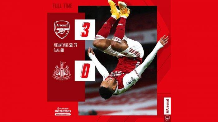 Hasil Liga Inggris Arsenal vs Newcastle United, Pierre-Emerick Aubameyang 2 Gol, Arsenal Menang