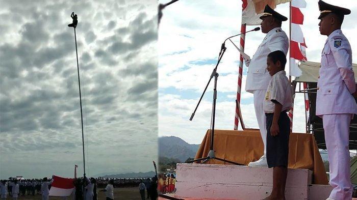 VIRAL Aksi Heroik Siswa SMPN 1 Dulupi Gorontalo Panjat Tiang Bendera saat Upacara HUT RI