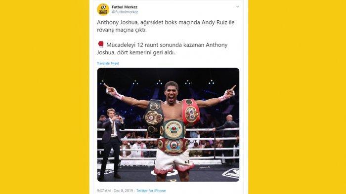 Kalahkan Andy Ruiz Jr, Anthony Joshua : Saya Ingin Katakan Bismillah