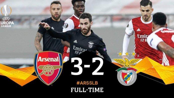 Hasil Arsenal vs Benfica, Arsenal Menang dalam Drama 5 Gol, Arsenal Lolos ke 16 Besar