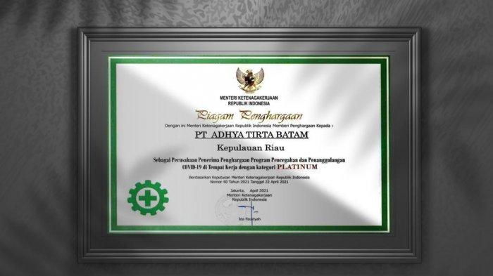 Kemenaker Beri Penghargaan P2 Covid-19 Kategori Platinum, Bukti Komitmen ATB Cegah Covid-19