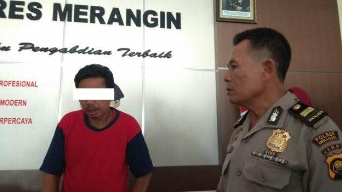 Wajah Am (38), warga Kecamatan Tabir Timur, Merangin, ayah yang merudapaksa anak kandungnya. Ilustrasi