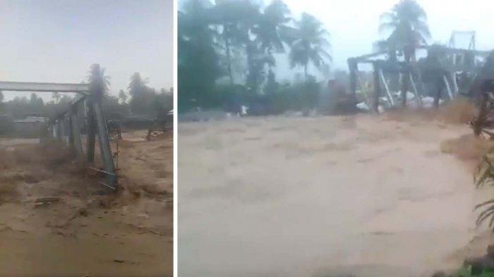 VIDEO Detik-detik Ambruknya Jembatan Beton Lubuk Kilangan Dilanda Banjir Kota Padang