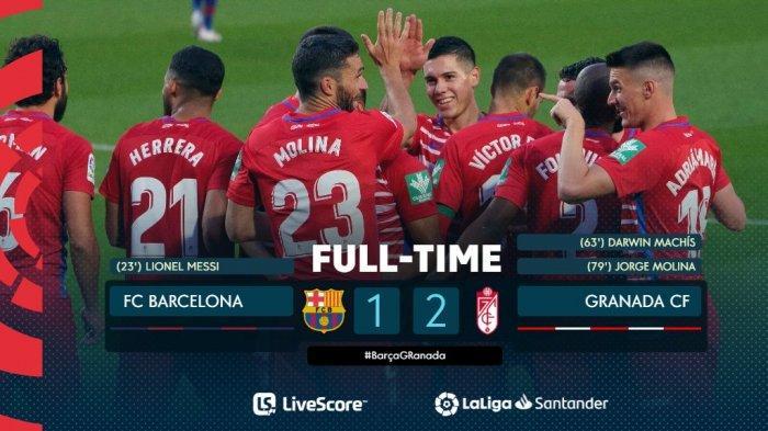 Hasil Barcelona vs Granada - Barcelona kalah 1-2 saat menjamu Granada di Camp Nou pekan 33 Liga Spanyol 2020-2021, Kamis (29/4/2021) malam atau Jumat dinihari WIB.