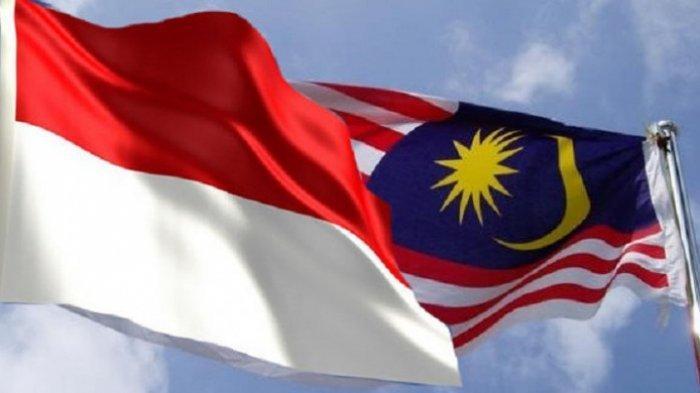 Ilustrasi foto bendera Indonesia dan Malaysia
