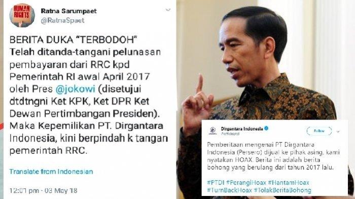 HEBOH Kicauan Ratna Sarumpaet 'PT Dirgantara Indonesia Dijual ke Cina', PT DI: Itu HOAX