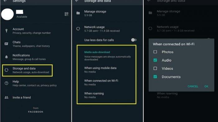 Cara menon-aktifkan unduh foto, video, audio, dan dokumen otomatis di WhatsApp.