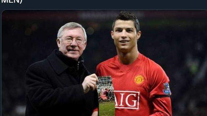 Cristiano Ronaldo bersama Sir Alex Ferguson saat masih di Manchester United