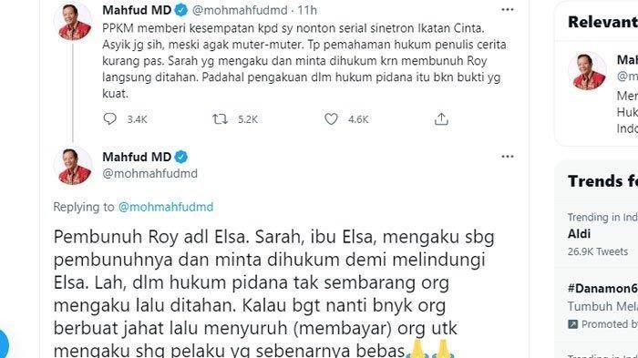 Cuitan Mahfud MD soal sinetron Ikatan Cinta (Twitter)