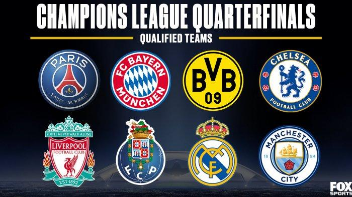 Daftar tim yang lolos ke perempat final Liga Champions 2020-2021: PSG, Bayern Muenchen, Borussia Dortmund, Chelsea, Liverpool, FC Porto, Real Madrid dan Manchester City