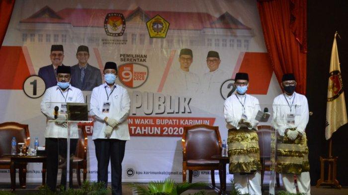 PILKADA KARIMUN - Dua pasangan calon (paslon) Bupati dan Wakil Bupati Karimun saat debat kandidat putaran pertama pada 25 Oktober 2020.
