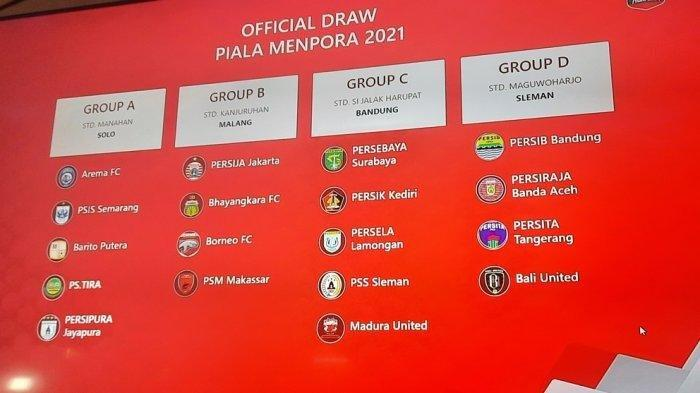 Hasil Drawing Piala Menpora 2021, Persib Bandung Bersua Bali United, Persebaya Bertemu 3 Tim Jatim