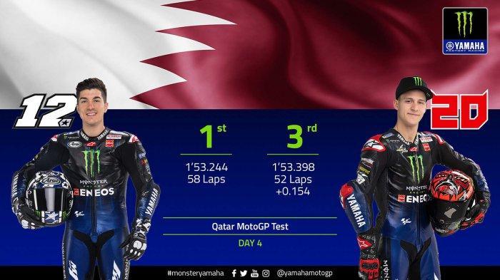 Hasil Test MotoGP Qatar Day 4, 3 Pebalap Yamaha Tercepat Maverick Vinales No 1, Valentino Rossi No 8