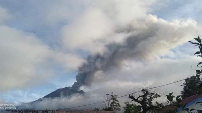 Gunung Sinabung Erupsi Selasa Pagi Jam 07.48 WIB, Tinggi Kolom Abu Capai 2000 Meter