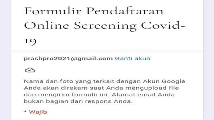 Bentuk form pendaftaran tes Antigen harga Rp 50 ribu kerja sama Lantamal IV dan Relawan Covid-19 di Tanjungpinang.