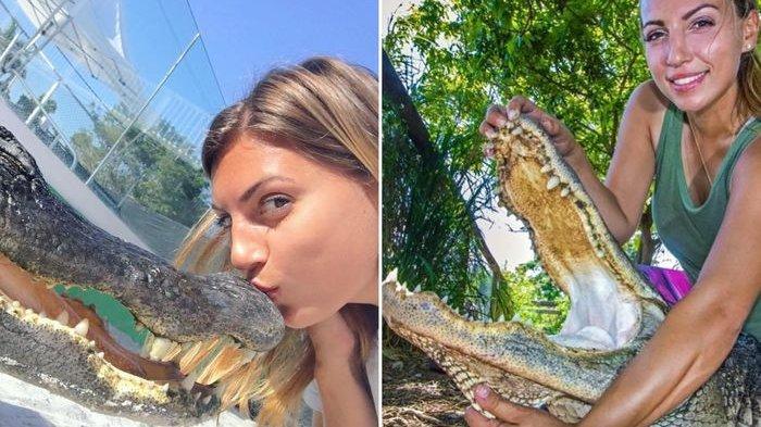 Gabby,  Wanita Pemberani yang Terbiasa 'Bergulat' dengan Alligator hingga Menciumnya