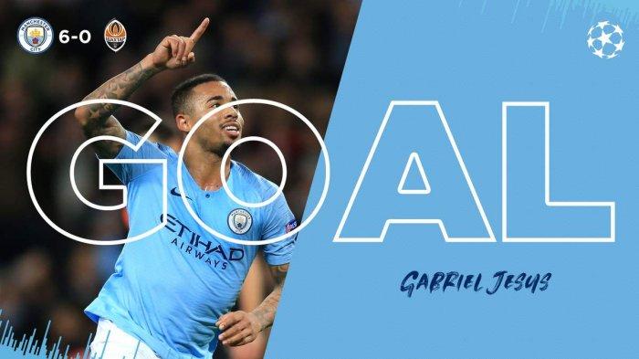 Hasil Liga Inggris - Dua Gol Gabriel Jesus ke Gawang Everton, Manchester City Kembali ke Puncak