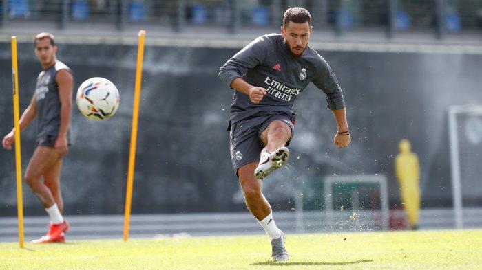 HAZARD CEDERA  - Gelandang Real Madrid asal Belgia Eden Hazard latihan pada 23 September 2020 lalu