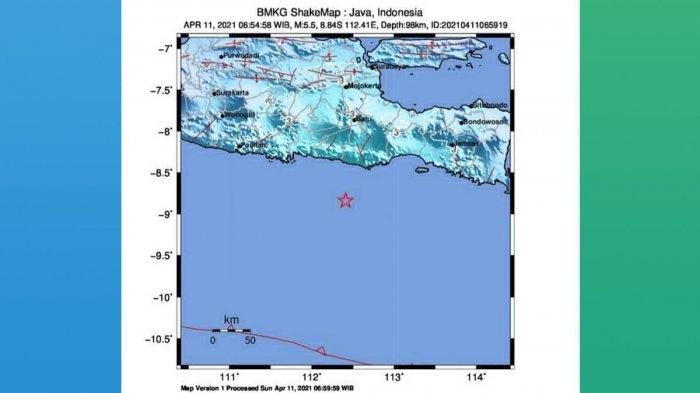Gempa Hari Ini 2021, Gempa Mag 5.5 Guncang Malang Minggu (11/4) Pagi 06.54 WIB, Simak Info BMKG