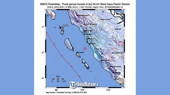 GEMPA HARI INI, Gempa 5.2 SR Guncang Pesisir Selatan Rabu Pagi, Terasa di Padang, Simak Info BMKG