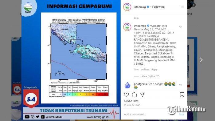 Gempa Hari Ini, Gempa 5,4 SR Guncang Banten Selasa (7/7/) Pukul 11:44 WIB, Berikut Info BMKG