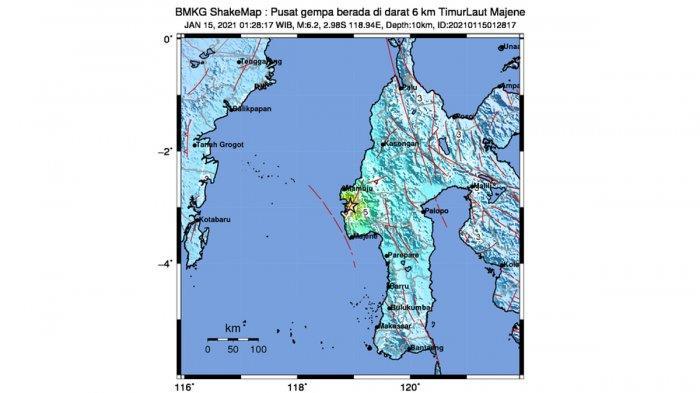 Gempa Hari Ini 2021, Gempa 6,2 SR di Majene Sulbar Jumat 01.28 WIB, Sejumlah Bangunan Roboh
