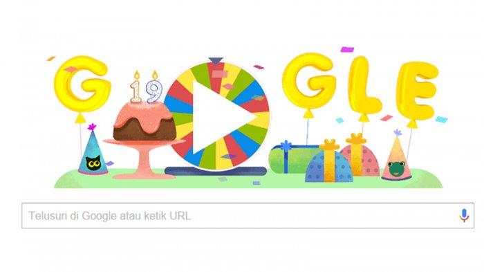 Google Doodle Hari Ini - Selamat Ulang Tahun Mbah Google. Asyik Ada Kejutan Roda Hadiah