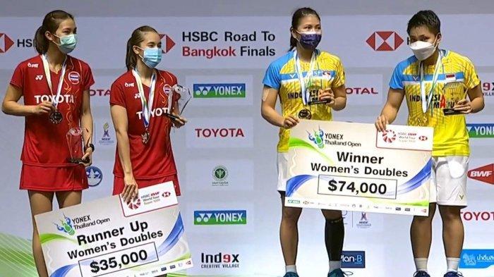 Hasil Final Yonex Thailand Open 2021, Kalahkan Ganda Putri Thailand, Greysia Polii/Apriyani Juara