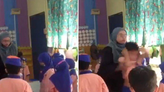 Kolase potongan video guru melempar siswa Taman Kanak Kanak (TK)