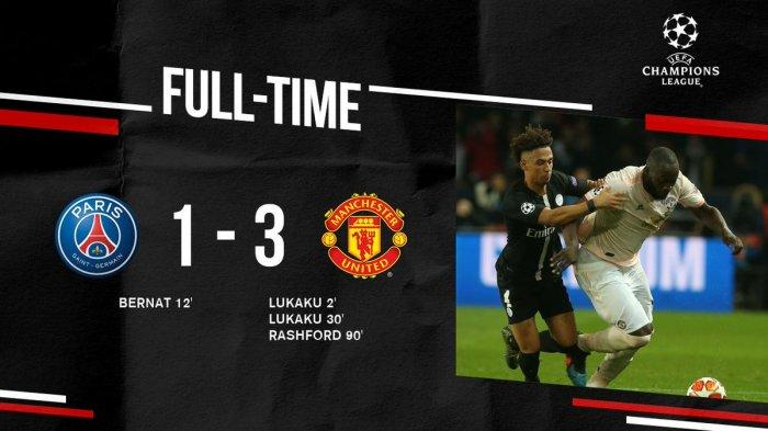 Hasil Liga Champion PSG vs MU - Dramatis, Ikuti Ajax, Man United Lawan Kemustahilan, MU Menang 3-1