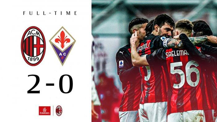 Hasil AC Milan vs Fiorentina - AC Milan memetik kemenangan 2-0 atas Fiorentina pada pekan 9 Liga Italia 2020/2021 di San Siro, Minggu (29/11/2020) malam WIB