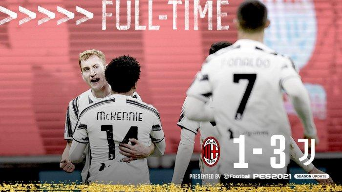 Hasil Liga Italia AC Milan vs Juventus - Juventus menang 3-1 atas AC Milan di pekan 16 Liga Italia 2020/2021, Rabu (6/1/2021) malam atau Kamis dinihari WIB.