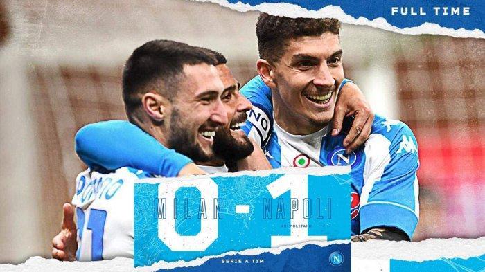 Hasil AC Milan vs Napoli - Napoli menang 1-0 atas AC Milan di pekan 27 Liga italia 2020-2021 Minggu (14/3/2021) malam atau Senin dinihari WIB