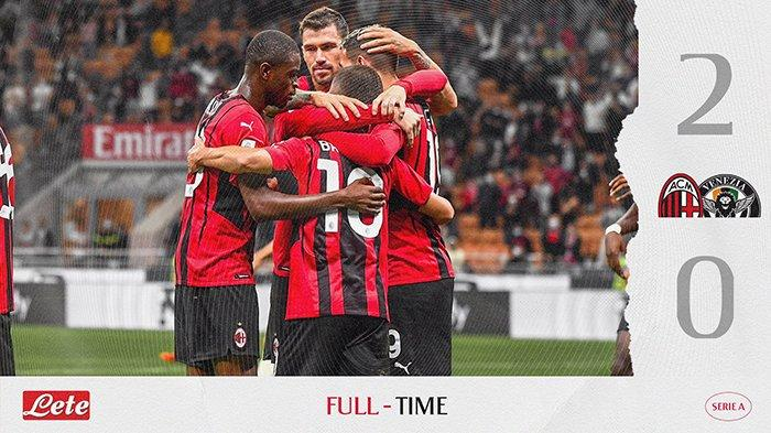 Hasil AC Milan vs Venezia, Brahim Diaz dan Theo Hernandez Cetak Gol, AC Milan Menang