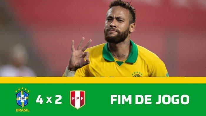 Hasil Peru vs Brazil, Drama 7 Gol di Lima, Brazil Menang Telak, Neymar Catat Hattrick