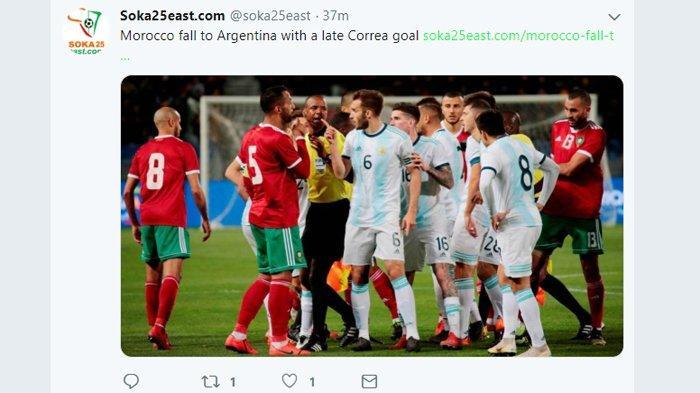Hasil Maroko vs Argentina, Tanpa Lionel Messi, Argentina Menang. Gol Dicetak Angel Correa