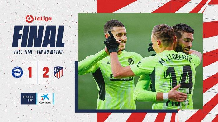 Hasil Liga Spanyol Deportivo Alaves vs Atletico Madrid - Atletico Madrid menang 2-1 atas Alaves di pekan 17 Liga Spanyol 2020/2021, Minggu (3/1/2021) malam atau Senin dinihari WIB.