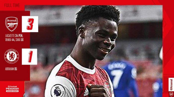 Hasil Liga Inggris Arsenal vs Chelsea - Arsenal menang telak 3-1 atas Chelsea di pekan 15 Liga INggris 2020/2021, Sabtu (26/12/2020) malam atau Minggu dinihari WIB