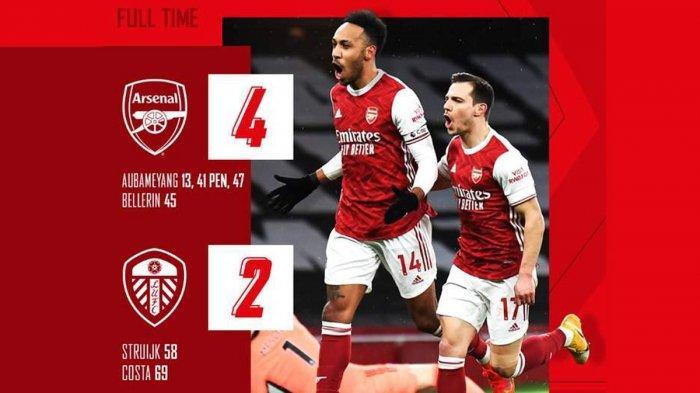 Hasil Liga Inggris Arsenal vs Leeds United, Aubameyang3 Gol, Arsenal Menang