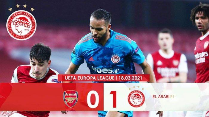 Hasil Liga Europa Arsenal vs Olympiacos - Olympiacos menang 1-0 atas Arsenal lewat gol Youssef Al Arabi pada menit ke 51 Jumat (19/3/2021) dinihari WIB. Namun Arsenal tetap lolos ke perempat final Liga Europa karena menang 3-1 pada leg 1 babak 16 besar Europa League 2020-2021.