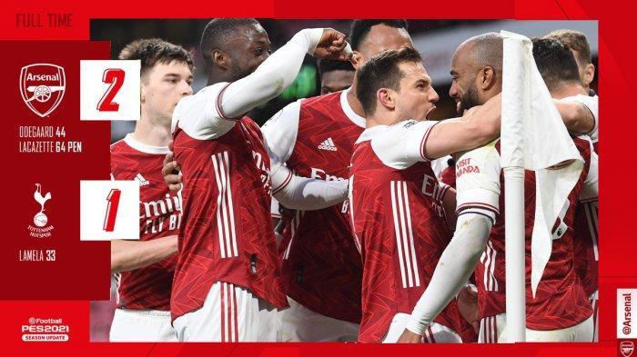 Hasil Arsenal vs Tottenham, Martin Odegaard & Alexandre Lacazette Cetak Gol, Arsenal Menang