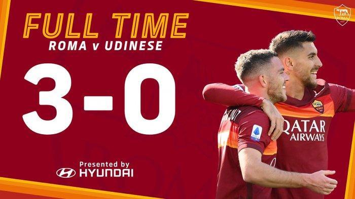 Hasil Liga Italia AS Roma vs Udinese, Jordan Veretout 2 Gol, Pedro 1 Gol, AS Roma Menang