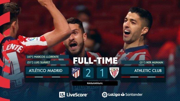 Hasil, Klasemen, Top Skor Liga Spanyol Setelah Atletico Madrid Menang, Luis Suarez 18 Gol
