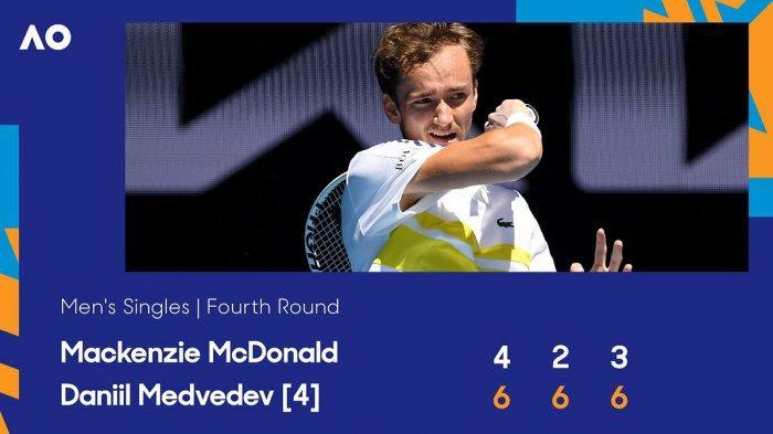 Hasil Babak Keempat Australia Open 2021, Medvedev Menang, Fognini vs Rafael Nadal Sedang Berlangsung