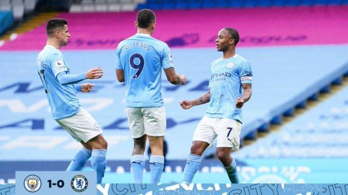 Hasil Liga Inggris - Gol Raheem Sterling Bawa Manchester City Ungguli Chelsea di Babak Pertama
