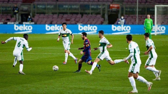 Hasil Liga Spanyol Barcelona vs Elche, Lionel Messi Cetak 2 Gol, Barcelona Menang
